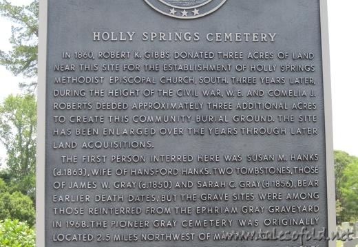 Holly Springs Cemetery Marker